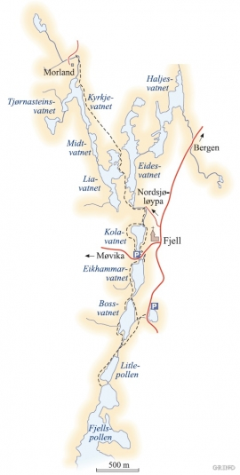 Map of the Fjell water system.