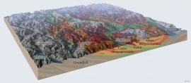 Snitt og terrengmodell med geologiske einingar