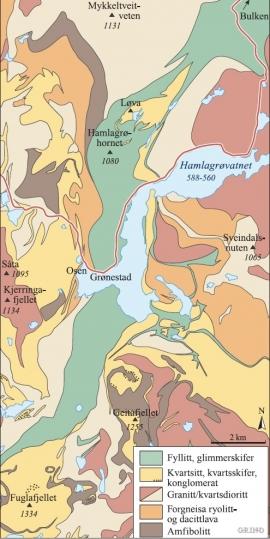 Kart over geologien i Hamlagrøområdet