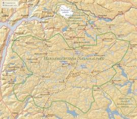 Kart over Hardanervidda nasjonalpark.