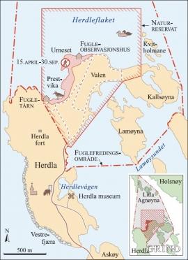 Dei viktigaste fugleområda på Herdla vart verna som naturreservat i 1985
