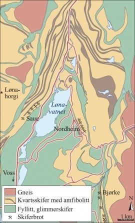 Kart over geologi og skiferbrot kring Lønavatnet.