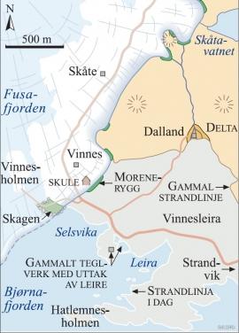 Kart over Vinnesområdet for 11700 år sidan