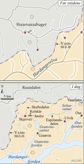 Kart over elvane i Voss–Granvinområdet før elvetjuveriet og elvane i dag