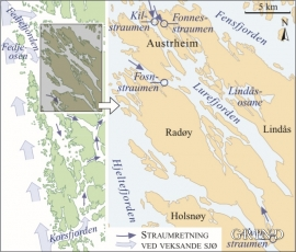 Kart over tidvasstraumar i Nordhordland