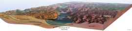 Terrengmodell over Indre Hardanger med snitt på tvers av Hardangerfjorden