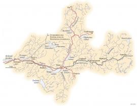 Kart over Vossevassdraget