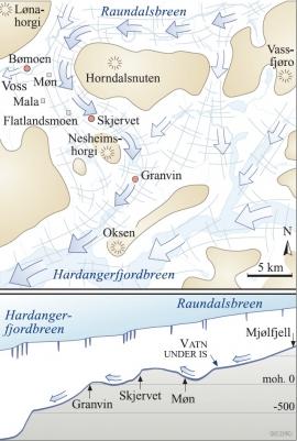 Det meste av breen i Raundalen tok vegen mot Hardanger.