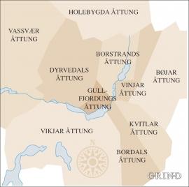 Kartet viser åttungsskipnaden på Voss etter skattemanntalet i 1647