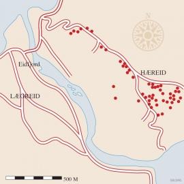 Kart over gravfeltet på Hæreid