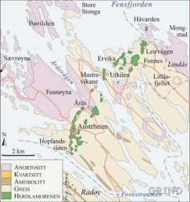 Kart over berggrunnen og Herdlamorenen i Austrheim