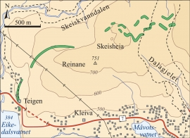 Map of The Rindarne moraine