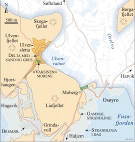 Kart over Os-området då breelvane bygde opp Ulvensletta for om lag 12 000 år sidan