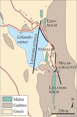Kart over gruveområdet på Litland i Hosanger
