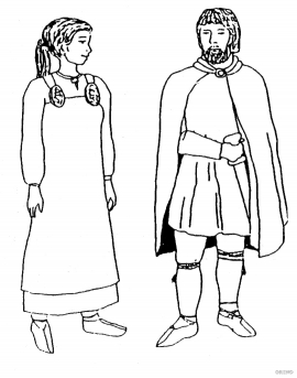 Men's and women's costumes from early Iron Age.