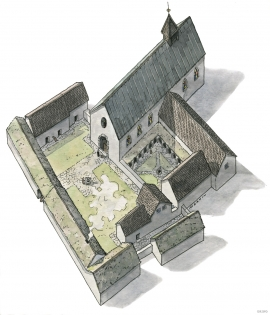 Sketch of Halsnøy monastary.