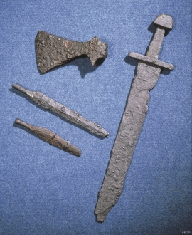 Sword, axe and arrowheads. Viking weapons from Fitjar.