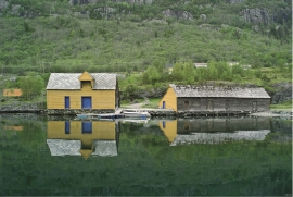 """Saltebuo"" (the salting shed) and ""Longabuo"" (the long shed), Nedrevåge, Tysnes"