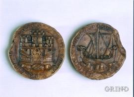 Voksavstøpning av reversen på Bergens bysegl fra 1293