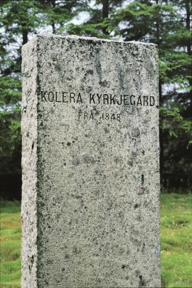 Gravestone at the cholera graveyard, Møvik.