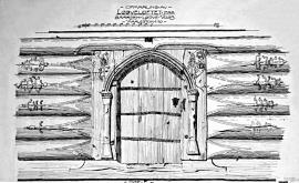Detail of the door portal on Lydvaloftet, measured by Jens Bull, 1912.