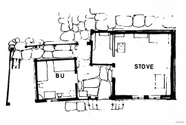 Floor plan of the dwelling house and shed from Øystesetunet
