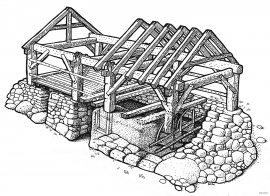 Cross-section through a frame-built shed at Måbø.