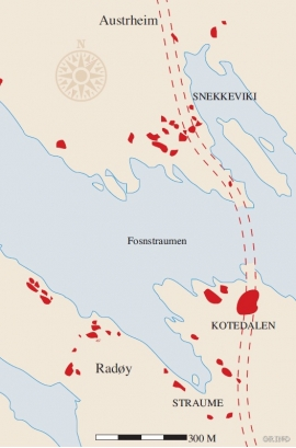A map of the settlements at Fosnstraumen, Radøy