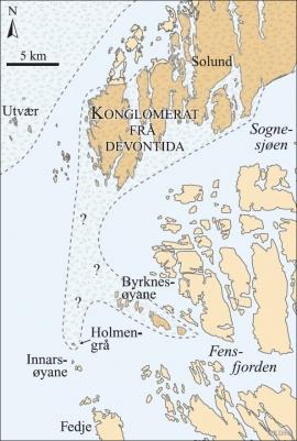 Kart over utbreiinga av bergartar frå devontida frå Ytre Sogn og sør til Holmengrå
