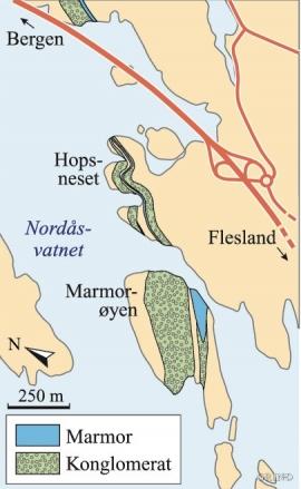 Kart over marmorforekomstene ved Nordåsvatnet. (Haakon Fossen)