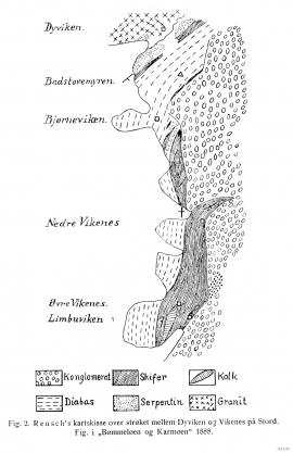 The geology along the east side of Dyvikcågen, mapped by Hans Reusch in the 1880s.