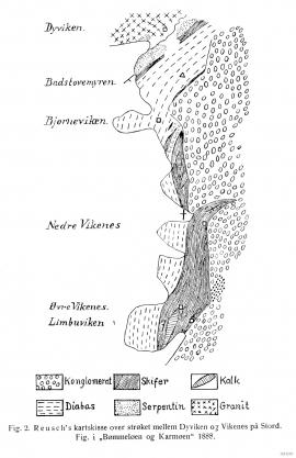 Geologien langs austsida av Dyvikvågen