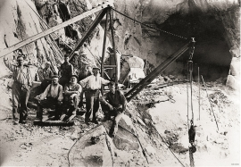 Building roads through the hard Precambrian basement at Lussand in the 1930s