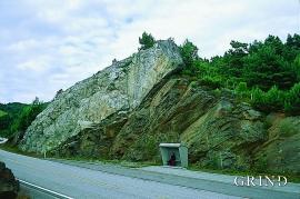 Pegmatittgang nær Valestrand.
