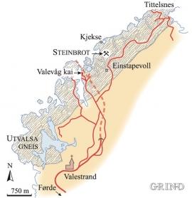 Kart over dei utvalsa gneisane langs Bømlafjorden