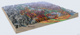 Profile and terrain model showing geological units