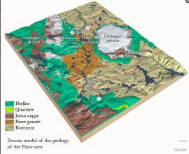 Terrengmodell over geologien i Finseområdet