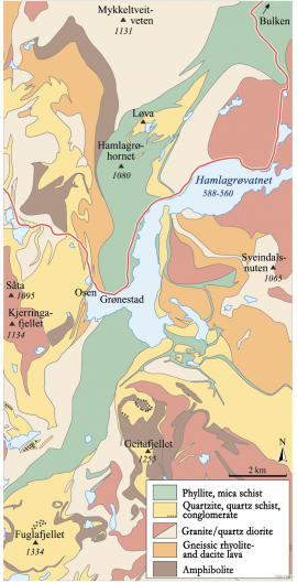 Map of the geology of the Hamlagrø area