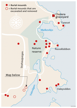 Map over Hystadmarka with the recreation area.