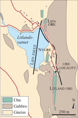 Map of the mine area at Litland in Hosanger.