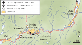 Map of old and new gravel quarries in Modalen.