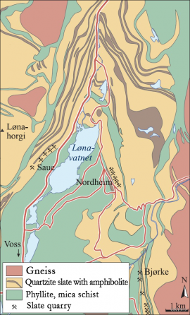 Map of the geology and slate quarry around Lake Lønavatnet
