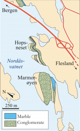 Map of the marble occurrences by Lake Nordåsvatnet. (Haakon Fossen)