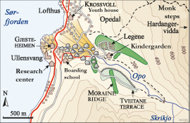 Map of the loose sediment deposits in Opedal.