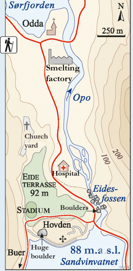 Map of Opo with terraces and erratic boulders. (Inge Aarseth/Eva Bjørseth)