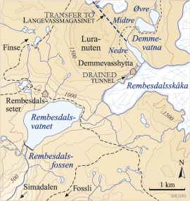 Map of the area around Rembesdalsskåka.