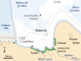 Map of the glacier at Skånevik 11 700 years ago.