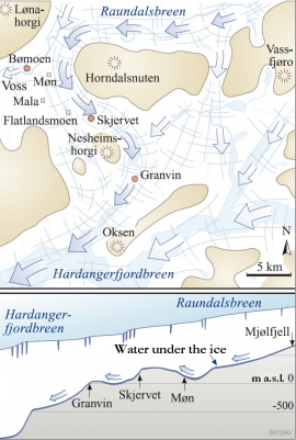 Most of the glacier in Raundalen took the path toward Hardanger.
