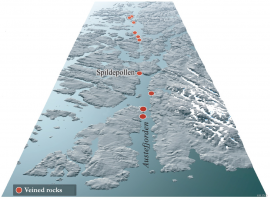 The straight Auste Fjord and the landscape further toward the north was created along a fault zone that stretches deep down in the earth's crust.