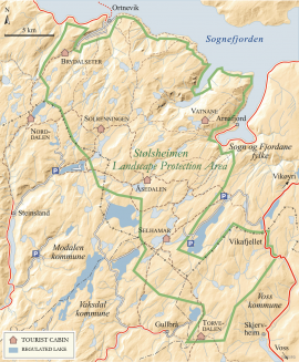 Map of Stølsheimen Landscape Protection Area.